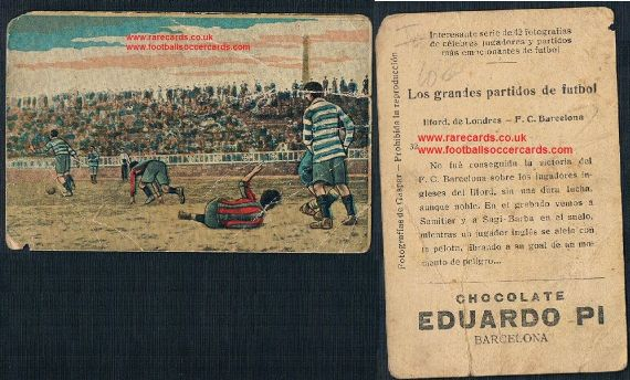 1923 Ilford FC v Barcelona! West Ham interest Spanish trade card